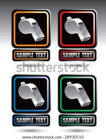 colored square banners with whistles - stock vector