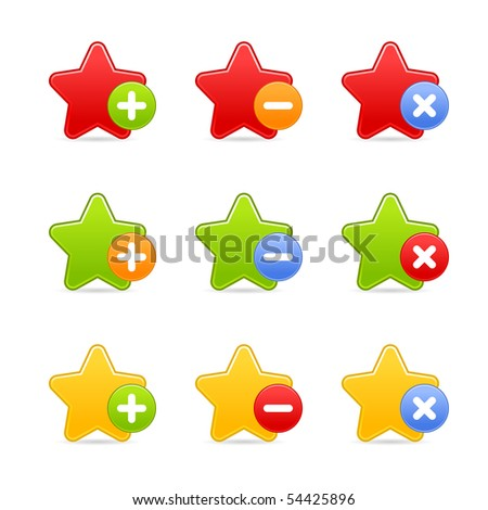 Colored star favorite web 2.0 button with shadow on white background - stock vector