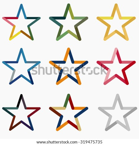 colored stars vector icon template set astrology symbol starburst logo