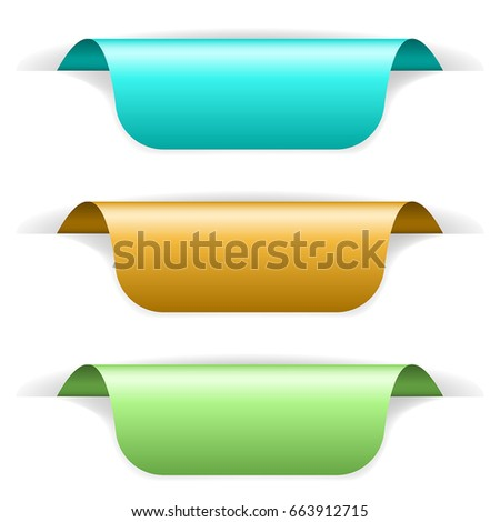 Colored sticker labels with transparent shadow vector 3d illustration isolated on white background