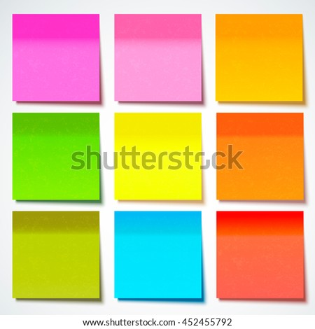 Colored sticky note, vector illustration.