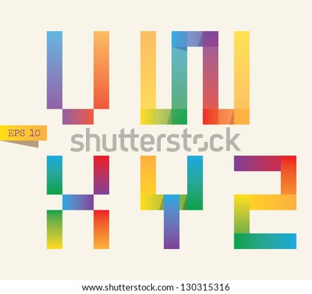 Colored sticky notes alphabet with rainbow colors. V, W, X, Y, Z letters. Gradient version. - stock vector