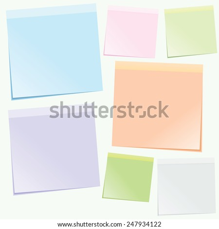 colored sticky notes isolated on white background - stock vector