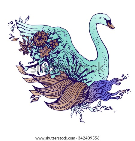 Colored swan isolated. Engraving sketch. Abstract vector bird with flowers. Print for t-shirt. Wild things.
