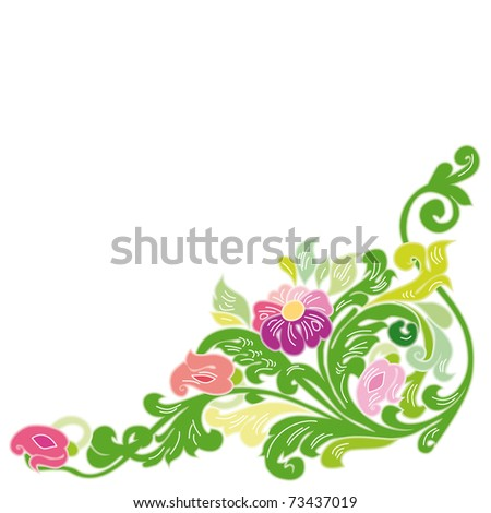 Colored swirly background with splats and retro floral elements - stock vector