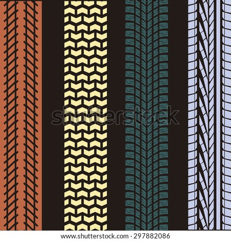 Colored tire track background - stock vector