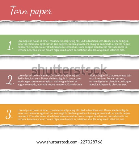 Colored torn paper banners. Vector EPS10 illustration isolated on white background. Design elements - multi colored  ripped paper - stock vector