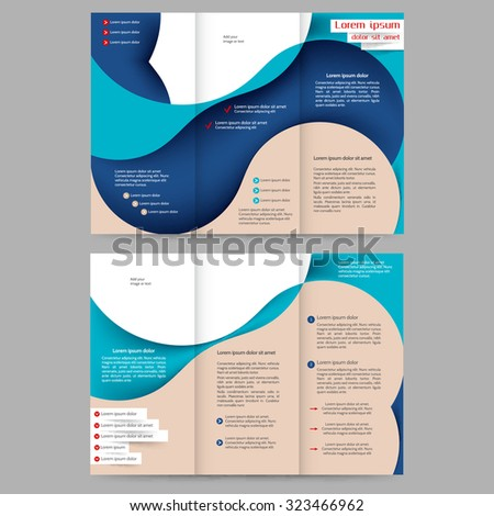 Colored tri fold business brochure design template with abstract lines and waves for your business - stock vector