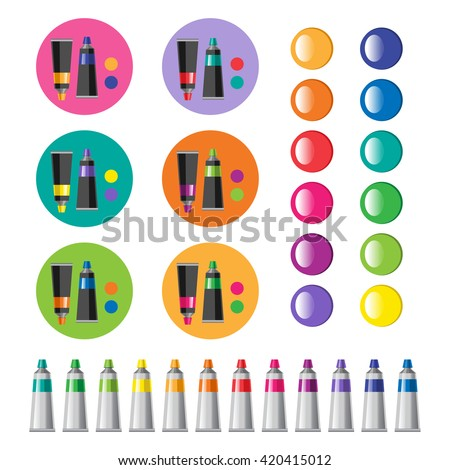 Colored tubes of paint. Art icons set. Color combinations. Artistic tools. Back to school vector illustration. Realistic tubes and colorful stains isolated on white.