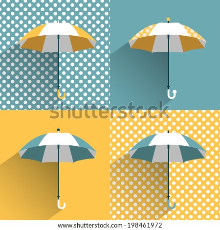 Colored umbrellas. Flat vector sign.  - stock vector