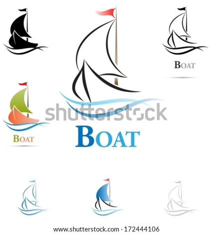 Colored variants of a sailing boat icon. Outline mode. Vector illustration - stock vector