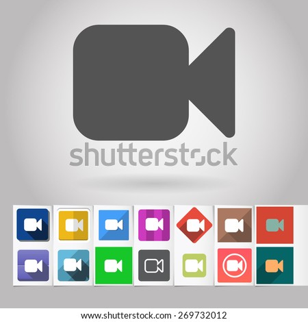 Colored vector flat camera square icon and buttons set. Design elements on paper styled background - stock vector