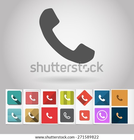 Colored vector flat phone square icon and buttons set. Design elements on paper styled background - stock vector