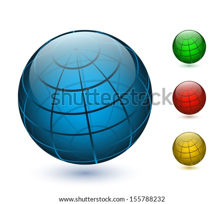 Colored vector globes icons - stock vector