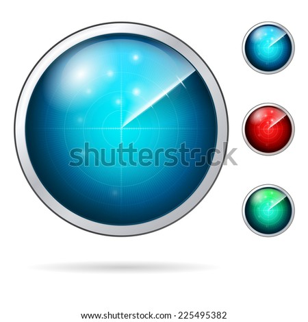 Colored vector icons for radar. Set of radars with colored screen. Vector icons on white background. - stock vector