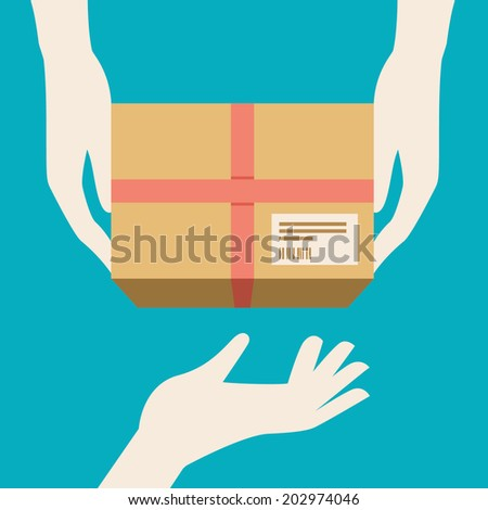 Colored vector illustration concept for delivery service isolated on stylish bright background - stock vector