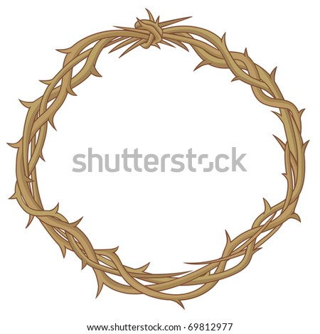 Colored vector illustration of Crown of thorns