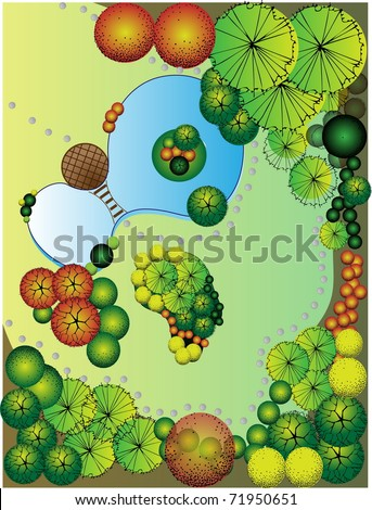 Colored vector Landscape  Plan with lake and bridge - stock vector