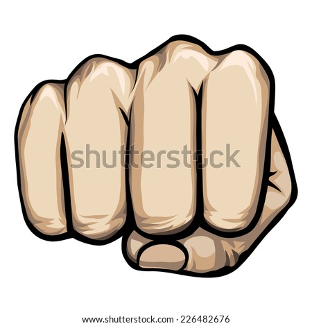 Colored vector of a punching hand with a clenched fist aimed directly at the viewer  isolated on white - stock vector