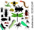 colored vector set of insects - stock vector