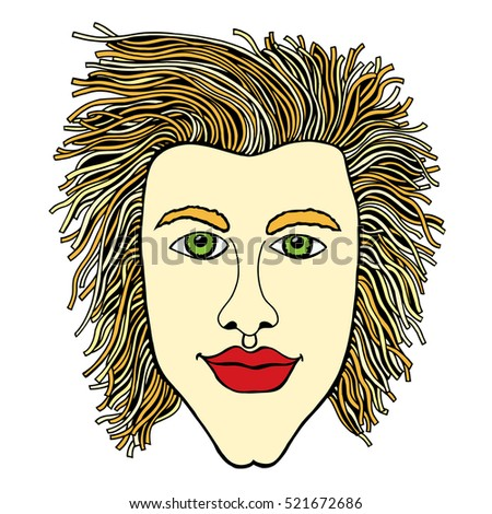 Colored Vector zentangle Portrait of bearder Man for adult coloring pages