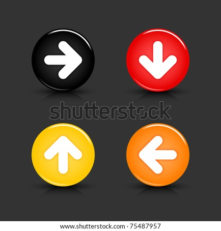 Colored web button with arrow symbol. Round shapes with reflection and shadow on gray. 10 eps - stock vector