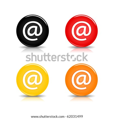 Colored web 2.0 button with at sign. Round shapes with reflection and shadow on white background. 10 eps - stock vector