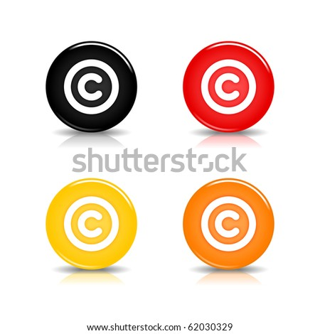 Colored web 2.0 button with copyright sign. Round shapes with reflection and shadow on white background. 10 eps - stock vector