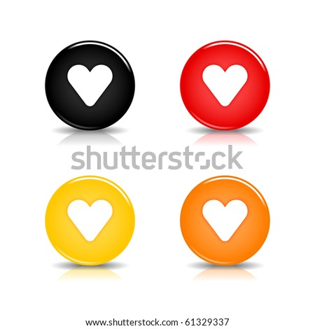 Colored web 2.0 button with heart sign. Round shapes with reflection and shadow on white background. 10 eps - stock vector