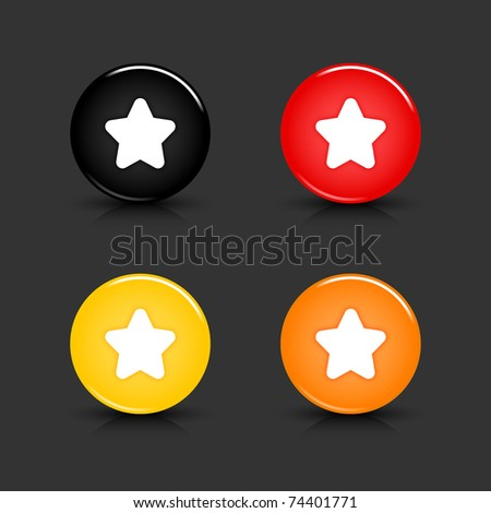 Colored web 2.0 button with star sign. Round shapes with reflection and shadow on gray background. 10 eps - stock vector