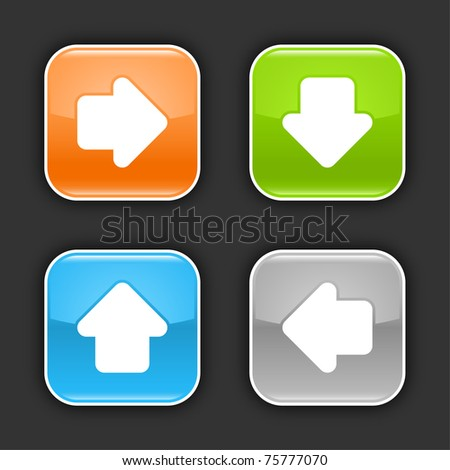 Colored web buttons with arrow sign. Glossy rounded square shapes with shadow on gray. 10 eps - stock vector