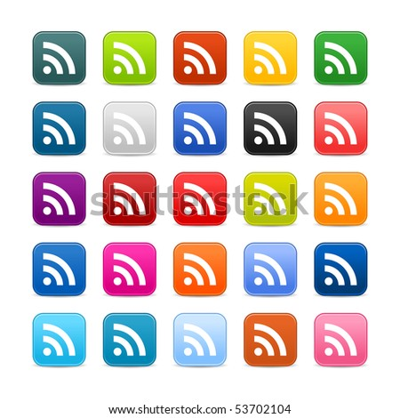 Colored web 2.0 buttons with RSS symbol sign. Rounded square shapes with shadow on white background - stock vector