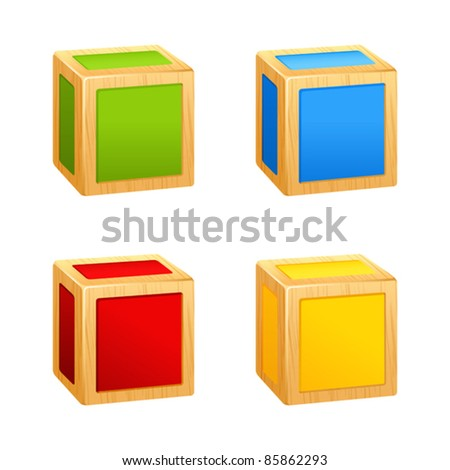 colored wooden cubes icon. box - stock vector
