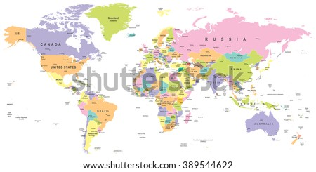 Colored world map borders countries cities vector de stock389544622 colored world map borders countries and cities illustration image contains layers gumiabroncs Choice Image