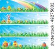 Colorfol Easter banner set. With the image of Easter eggs, butterfly, flowers and a rabbit in a spring grass - stock vector