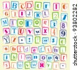 Colorful ABC stamps - stock photo