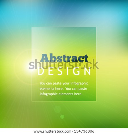 Colorful abstract background with defocused grass and sky and circle of light - stock vector