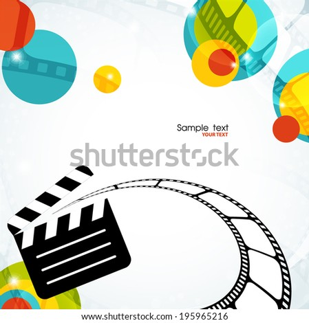 Colorful abstract background with film and clapper - stock vector