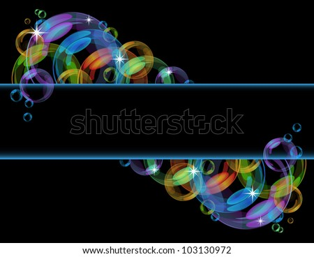 Colorful abstract banner with transparent bubbles. Vector background. - stock vector