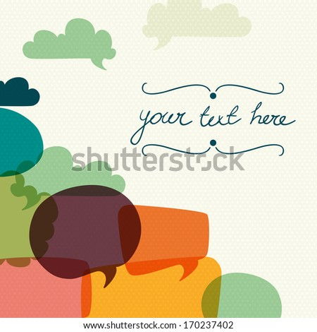 Colorful abstract card template with speech and thought bubbles on polka dot background. - stock vector