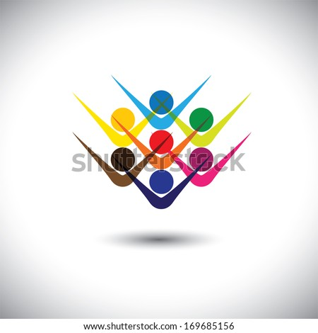 Colorful abstract concept vector happy excited people or children. This graphic illustration can also represent happy employees & staff, kids playing, elated friends, people partying, etc - stock vector