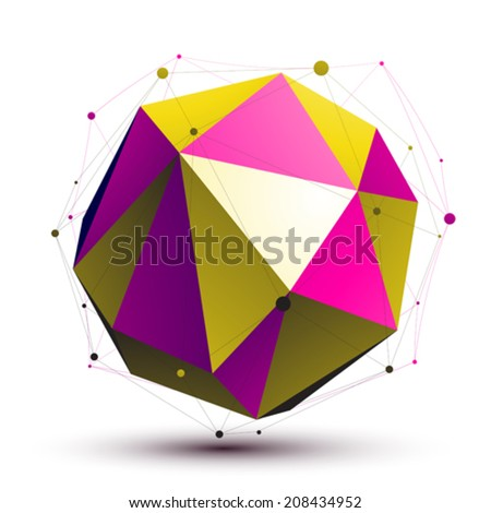 Colorful abstract 3D structure, gold and purple orbed vector network object. Complicated art deformed figure. - stock vector