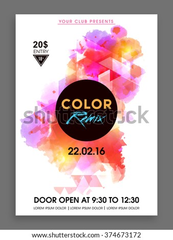 Colorful abstract design decorated Flyer, Banner or Template presentation for Music Party celebration. - stock vector