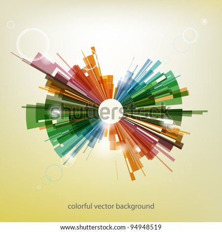 Colorful abstract explosion - vector background with shiny elements - stock vector