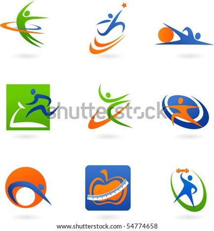 colorful abstract fitness icons - stock vector