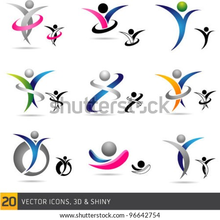 Colorful abstract fitness Vector Icons and Symbols Isolated On White Background. Graphic Design Editable For Your Design.