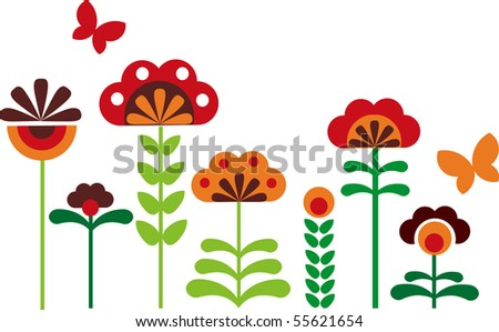 colorful abstract flowers  with butterflies  -1 - stock vector