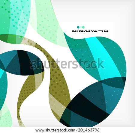 Colorful abstract flowing shapes with dotted texture on grey background - stock vector