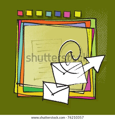 Colorful abstract frame design (envelopes, mailing motive, chalk technique, textured grunge vector) - stock vector