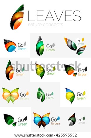 Colorful abstract geometric design leaves, icon set. Vector illustration